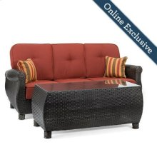 Breckenridge Outdoor Sofa with Pillows and Coffee Table Set, Brick Red