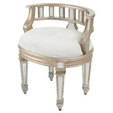 This mirrored vanity stool is crafted of Birch Wood solids and trimmed in antique pewter. The Demilune shape and the upholstered, tufted seat lend style and sophistication to this beauty!