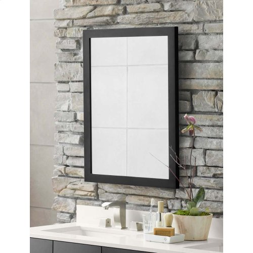 Contemporary Solid Wood Framed Bathroom Mirror in Antique Black