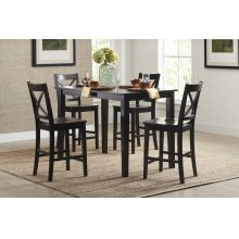Simplicity Counter Height Table With 4 X Back Stools - Espresso