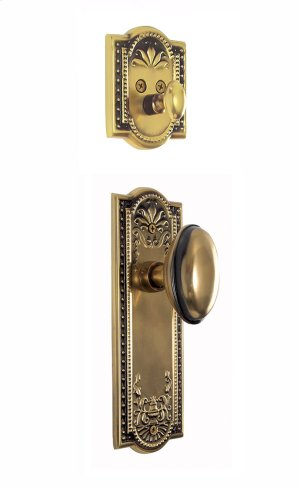 Nostalgic - Handleset Interior Half - Meadows Plate with Homestead Knob in Antique Brass Product Image