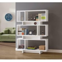 Contemporary White Geometric Bookcase