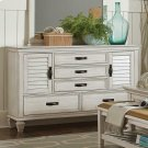 Franco Antique White Five-drawer Chest With Louvered Panel Doors Product Image