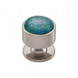 Firesky Mohave Blue Knob 1 3/8 Inch Brushed Satin Nickel Product Image