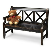 "This alluring transitional bench is a welcome addition to a variety of spaces. Crafted from select hardwoods and wood products, it features bold ""X "" back supports and a mysterious, lightly distressed Midnight Rose finish."