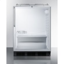 Built-in Undercounter ADA Height Commercially Listed Beer Dispenser With Glass Door, Lock, and Stainless Steel Wrapped Cabinet; No Tapping Equipment Included