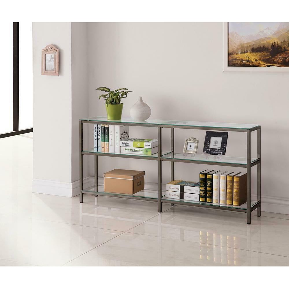 Contemporary Black Nickel Two-tier Double Bookcase