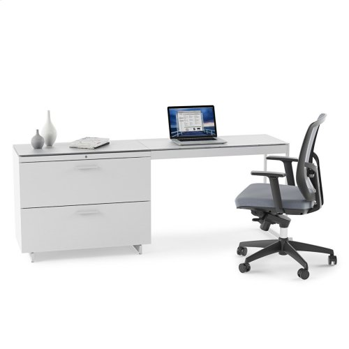 Return 6402 in Satin White Painted Oak Grey Glass