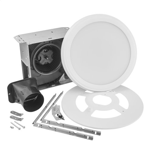 Roomside Series Single Speed 80 CFM Decorative Bathroom Exhaust Fan with Round Flat Panel LED Light