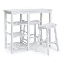 Counter Table with Two Stools - Distressed Chalk White Finish
