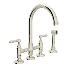 Polished Nickel Italian Kitchen San Julio Deck Mount C-Spout 3 Leg Bridge Kitchen Faucet With Sidespray with Metal Lever
