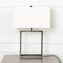 Abe Table Lamp-white Silk/dark Pewter
