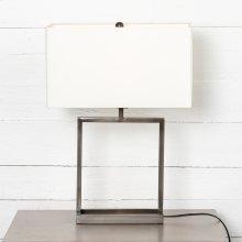 Abe Table Lamp-white Silk/dark Pewter