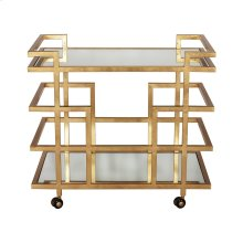 Gold Leaf Linear Bar Cart With Two Mirror Shelves