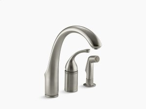 "Vibrant Brushed Nickel 3-hole Remote Valve Kitchen Sink Faucet With 9"" Spout With Matching Finish Sidespray Product Image"