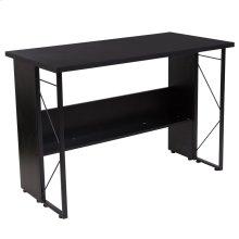 Black Computer Desk with Shelf and Metal Frame