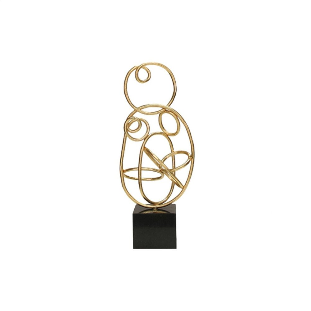 Abstract Doodle Sculpture With Black Marble Base In Gold