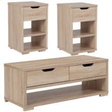 3 Piece Coffee and End Table Set with Storage Drawers in Sonoma Oak Wood Grain Finish