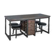 able Set w/ Attached 4-Cushion Seat Stools