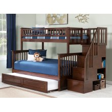 Columbia Staircase Bunk Bed Twin over Full with Raised Panel Trundle Bed in Walnut