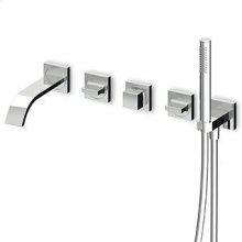 Built-in bath shower mixer, diverter, brass tubular handshower Z94177, shower hose 1500 mm, connections.