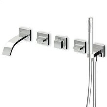 Built-in bath shower mixer, diverter, brass tubular handshower Z94177, shower hose 1500 mm, connections.