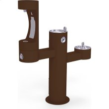 Elkay Outdoor EZH2O Bottle Filling Station Tri-Level Pedestal, Non-Filtered Non-Refrigerated Brown