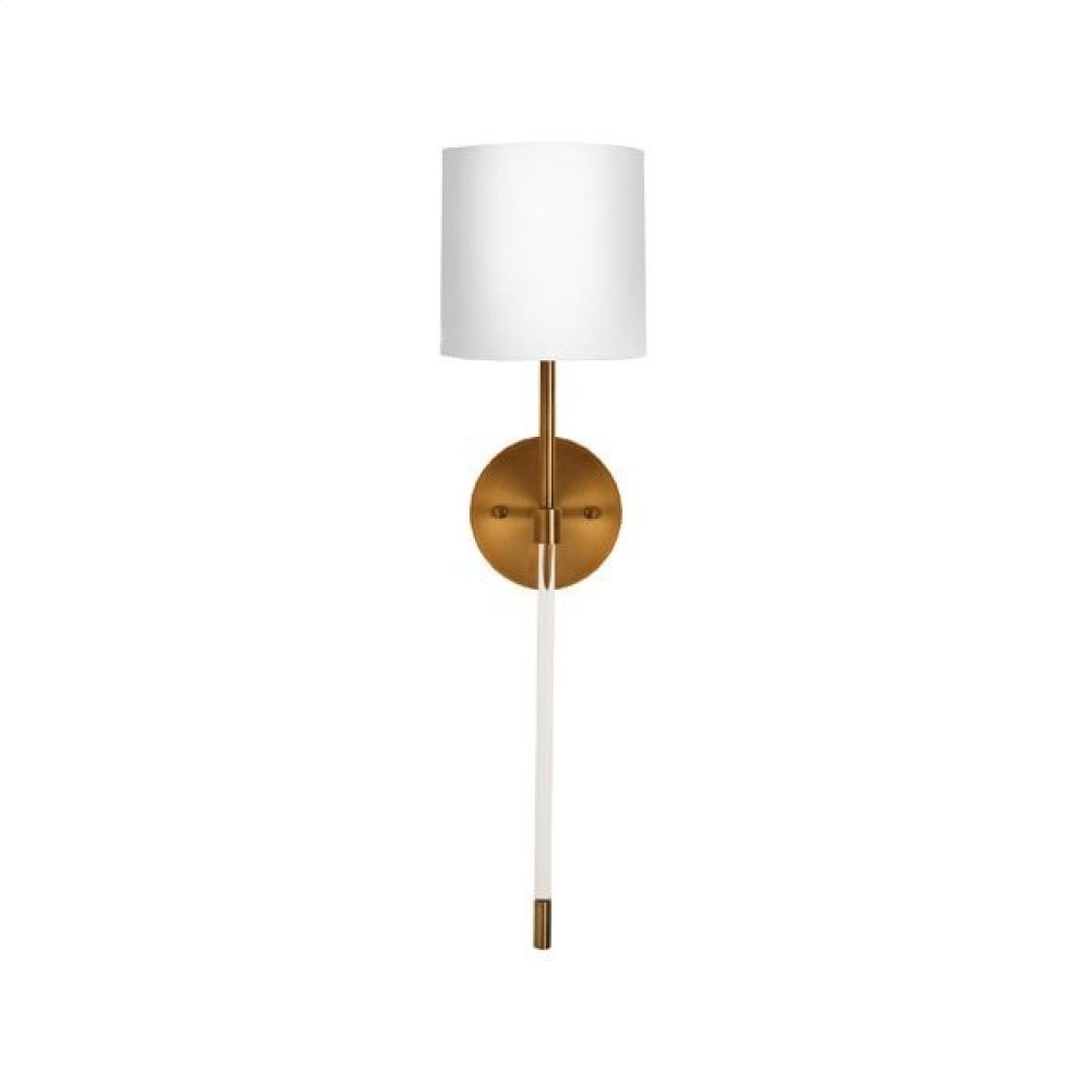 Simple Acrylic Sconce In Antique Brass With White Linen Shade - Ul Approved for One 60 Watt Candelabra Bulb