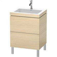 Furniture Washbasin C-bonded With Vanity Floorstanding, Mediterranean Oak (real Wood Veneer)