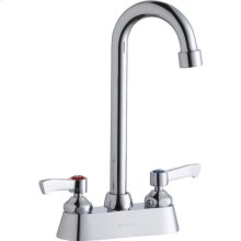 "Elkay 4"" Centerset with Exposed Deck Faucet with 5"" Gooseneck Spout 2"" Lever Handles Chrome"