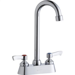 """Elkay 4"""" Centerset with Exposed Deck Faucet with 5"""" Gooseneck Spout 2"""" Lever Handles Chrome Product Image"""