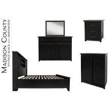 Madison County 3 PC King Barn Door Bedroom: Bed, Dresser, Mirror - Vintage Black