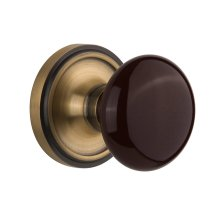 Nostalgic Warehouse - Single Dummy - Classic Rose with Brown Porcelain Knob in Antique Brass