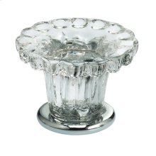 Cabinet Knob in Transparent Glass with US26 (Polished Chrome) Base