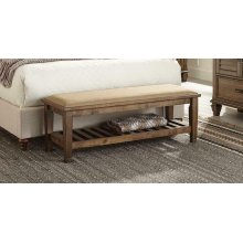 Franco Burnished Oak Upholstered Bench