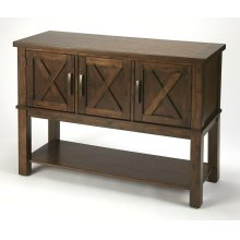 Bring a bit of countryside into you entertaining with this storage buffet. Crafted in Acacia wood and Rich Brown Birch veneers; the exterior door panels are enhanced by the updated X design. Offering you both storage and function in one beautiful additio