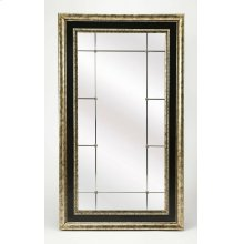 Perfect leaned up across the room from a bright window or stationed behind an accent table in the living room. Its beauty is accentuated by its santique pewter finish and small rosette accents. The mirror is beveled adding to its style and allure. It is a
