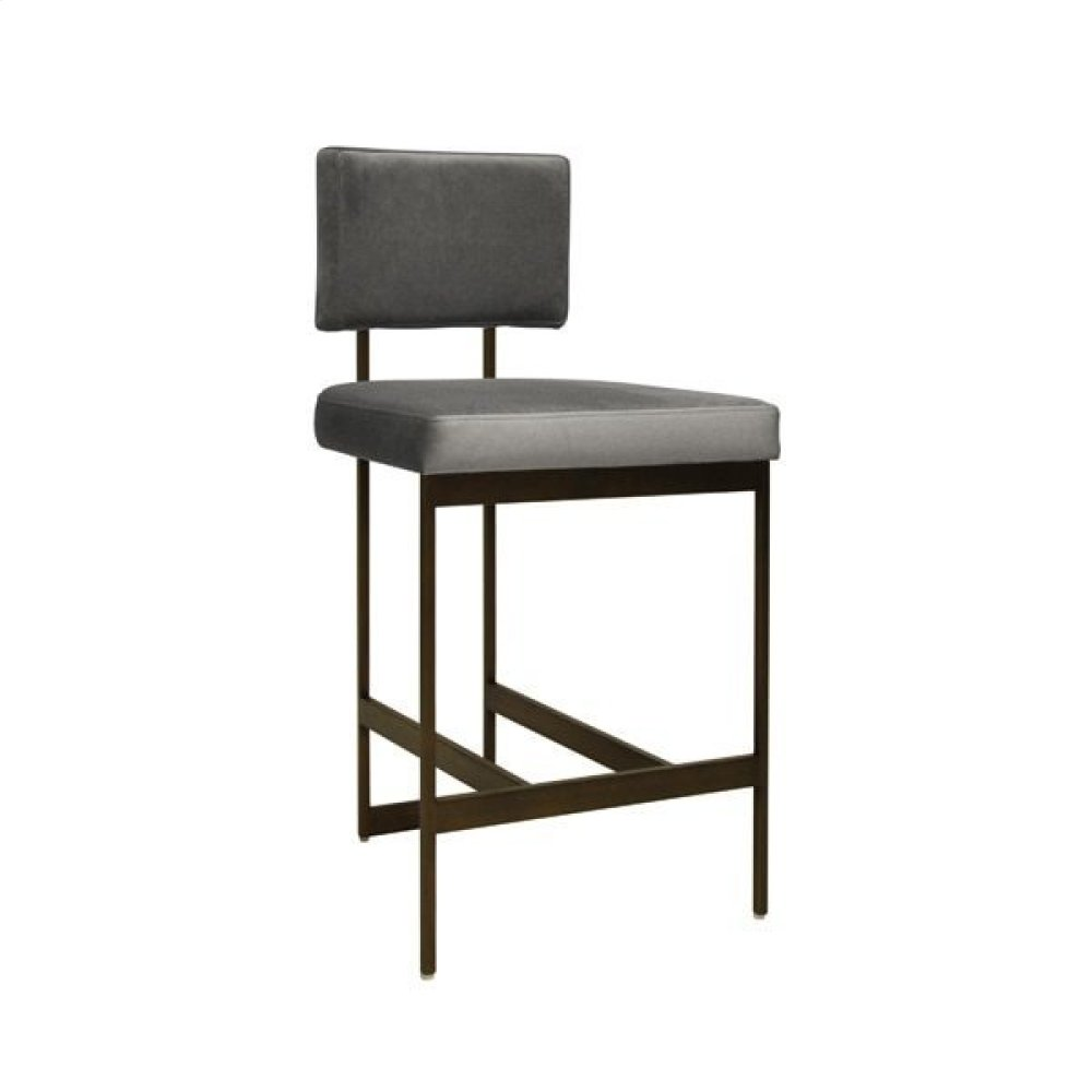 """Modern Counter Stool With Grey Velvet Cushion In Bronze Seat Height: 26"""""""