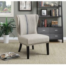 Traditional Grey and Blue Accent Chair