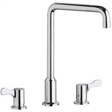 """Elkay 8"""" Centerset Concealed Deck Mount Faucet with Arc Tube Spout and 2-5/8"""" Lever Handles Chrome"""