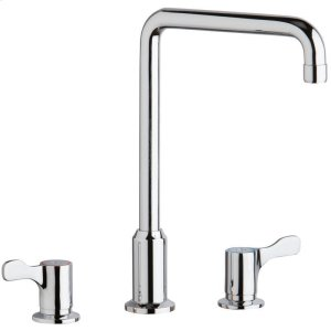 """Elkay 8"""" Centerset Concealed Deck Mount Faucet with Arc Tube Spout and 2-5/8"""" Lever Handles Chrome Product Image"""