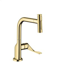 Polished Brass Single lever kitchen mixer Select 230 2jet with pull-out spray and sBox
