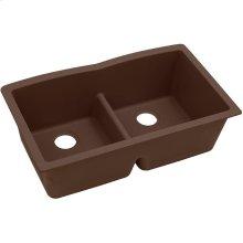 "Elkay Quartz Classic 33"" x 19"" x 10"", Equal Double Bowl Undermount Sink with Aqua Divide, Pecan"