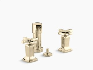 Vibrant French Gold Vertical Spray Bidet Faucet With Cross Handles Product Image