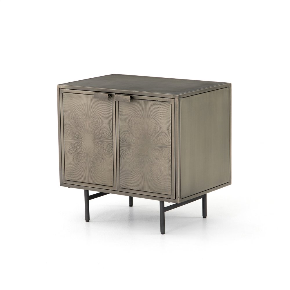 Antique Nickel Finish Sunburst Cabinet Nightstand