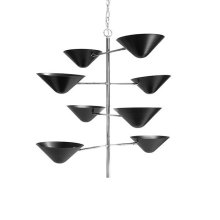 Four Tier Uplight In Nickel With Matte Black Shade