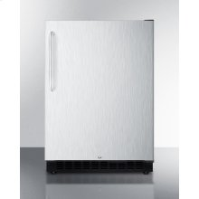Built-in Undercounter ADA Compliant All-refrigerator With Wrapped Stainless Steel Exterior, Towel Bar Handle, Door Storage, and Digital Controls