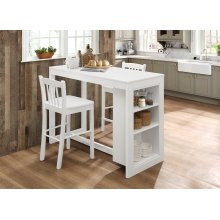 Classic White Counter Height Storage Table With Three Stools