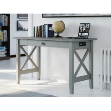 Lexi Desk with Drawer and Charging Station Atlantic Grey