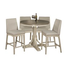 Clarion 5-piece Round Counter Height Dining Set With Parson Stools - Distressed Gray Top With Sea Wh
